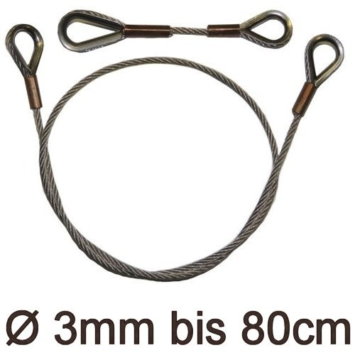 Drahtstropp mit Kauschen 3mm flex bis 80cm