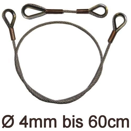 Drahtstropp mit Kauschen 4mm flex bis 60cm