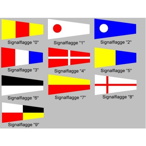 Signalflagge 30 einzeln Zahl 0 - 9