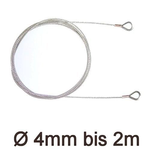 Drahtstropp mit Kauschen 4mm flex bis 2m
