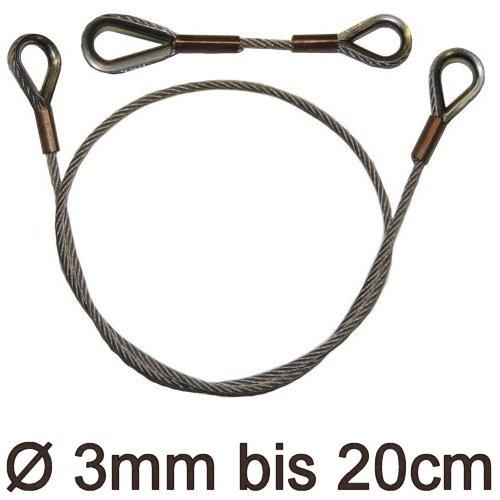 Drahtstropp mit Kauschen 3mm flex bis 20cm