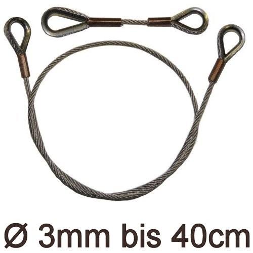 Drahtstropp mit Kauschen 3mm flex bis 40cm