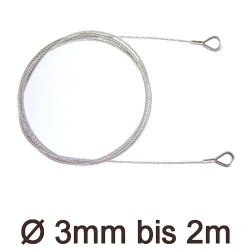 Drahtstropp mit Kauschen 3mm flex bis 2m
