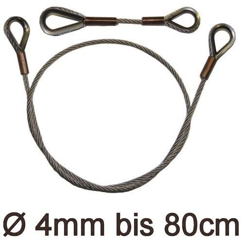 Drahtstropp mit Kauschen 4mm flex bis 80cm