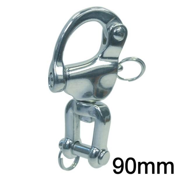 Schnappschäkel mit Wirbelschäkel 90mm
