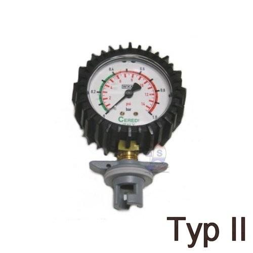 Manometer mit Knebel-Ventiladapter Typ II