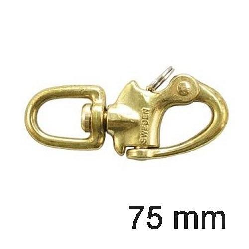 Schnappschäkel Messing mit Wirbel 75mm
