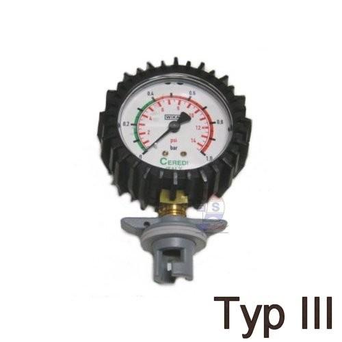 Manometer mit Knebel-Ventiladapter Typ III
