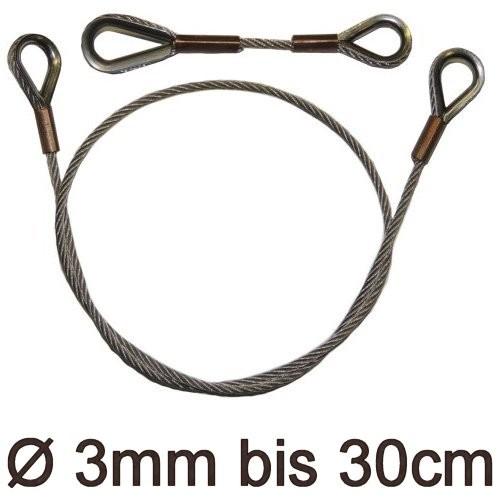 Drahtstropp mit Kauschen 3mm flex bis 30cm