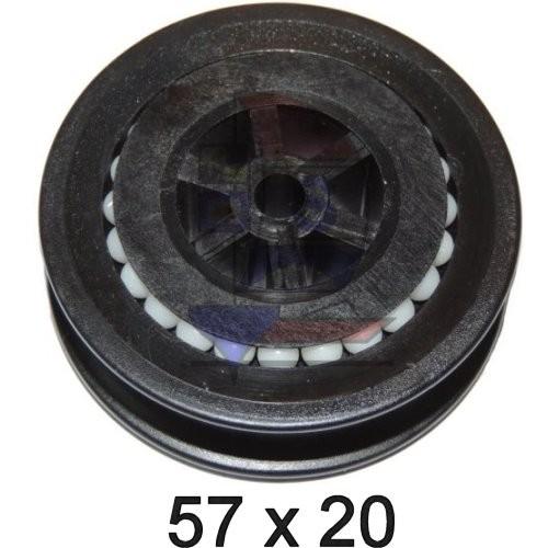 Seilscheibe Delrin schwarz 57 x 20