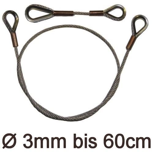 Drahtstropp mit Kauschen 3mm flex bis 60cm
